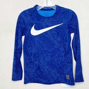 Nike Pro Boy's Blue Fitted Warm Long Sleeve Shirt